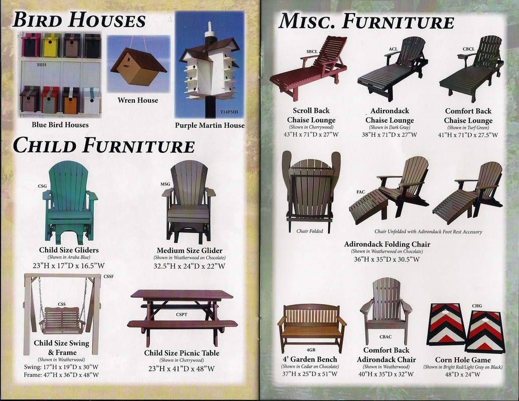 bird houses, child furniture, misc. furniture